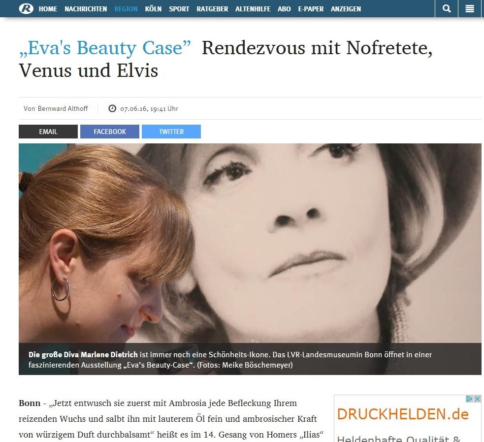 """Kölnische Rundschau: """"Eva's Beauty Case"""" Rendezvous mit Nofretete, Venus und Elvis"""